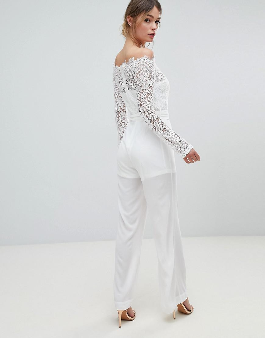 213f9a9792c0 Lioness Off Shoulder Lace Top Wide Leg Jumpsuit in White - Lyst