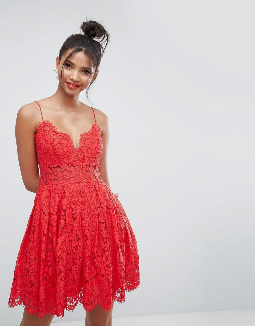 Red Mini Lace Prom Dress