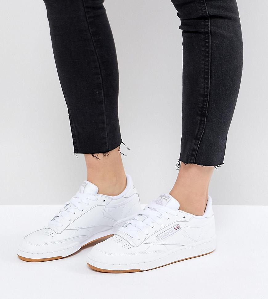 Reebok. Women s Classic Club C 85 Trainers In White Leather With Gum Sole 03d3dd56f