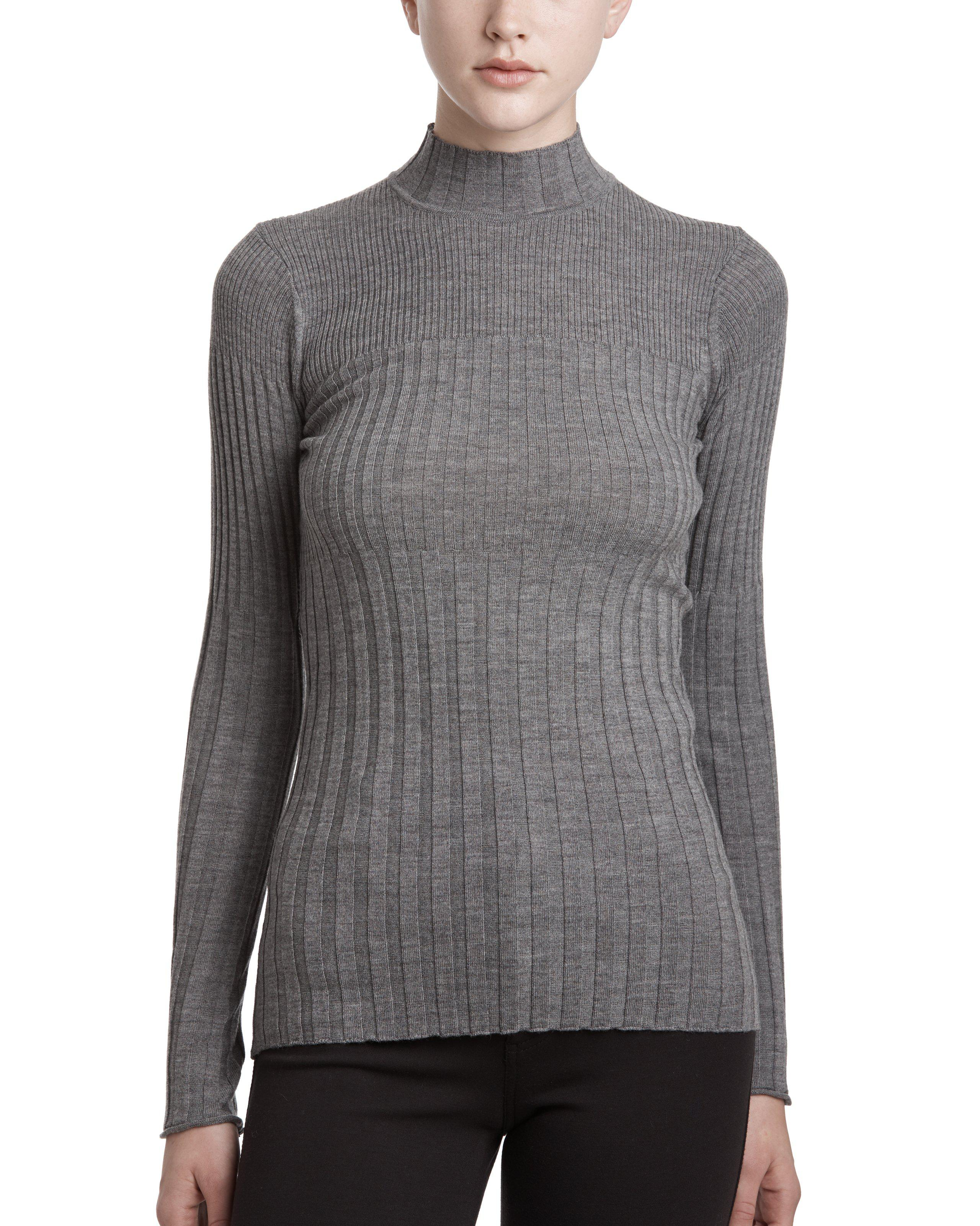 Atm Merino Wool Variegated Rib Turtleneck Sweater in Gray | Lyst