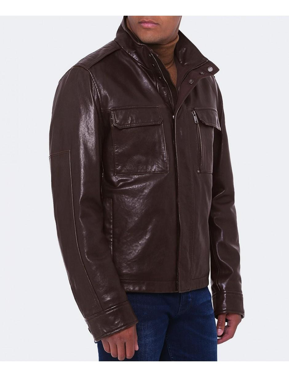 85fce90e38a Lyst - BOSS Leather Gwendon Jacket in Brown for Men