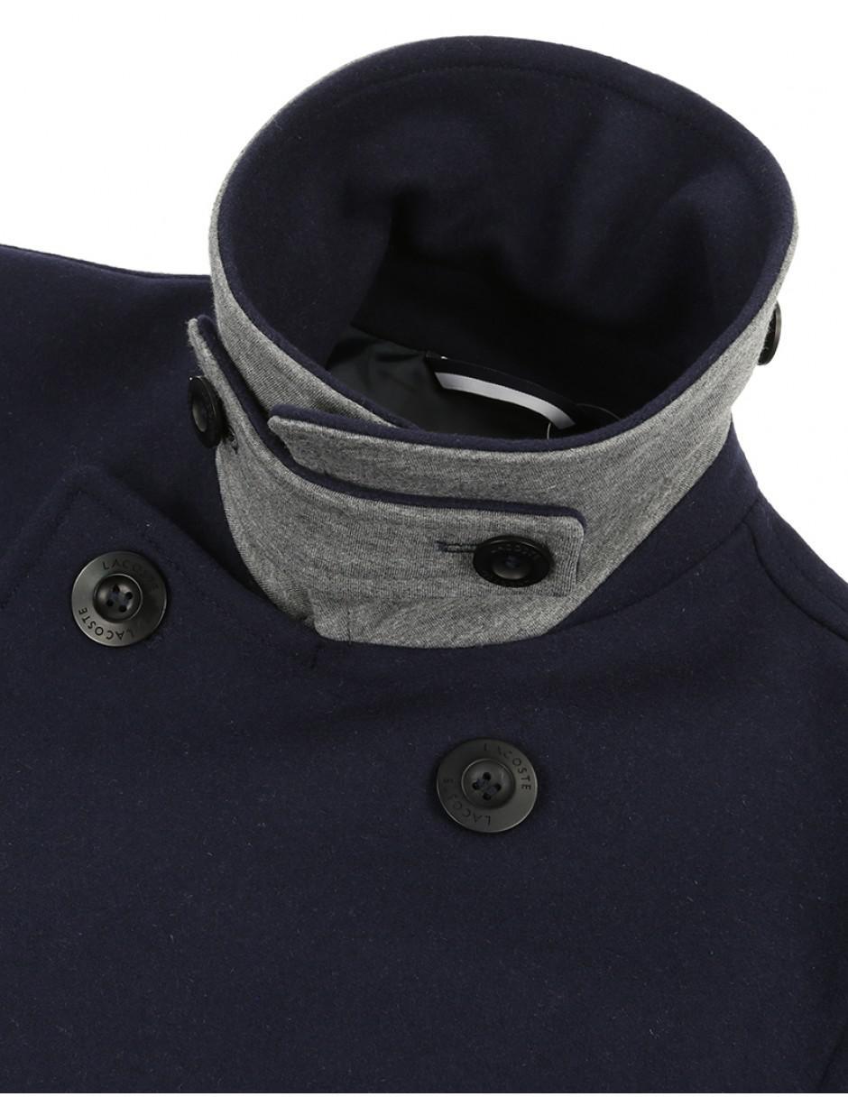 93c79c748 Lyst - Lacoste Men s Wool Broadcloth Peacoat in Blue for Men