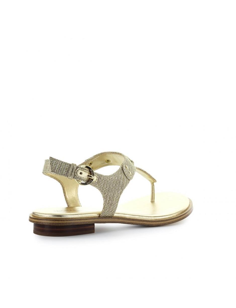 31683e46298 MICHAEL Michael Kors Michael Kors Gold Glitter Mk Plate Thong in Metallic -  Lyst