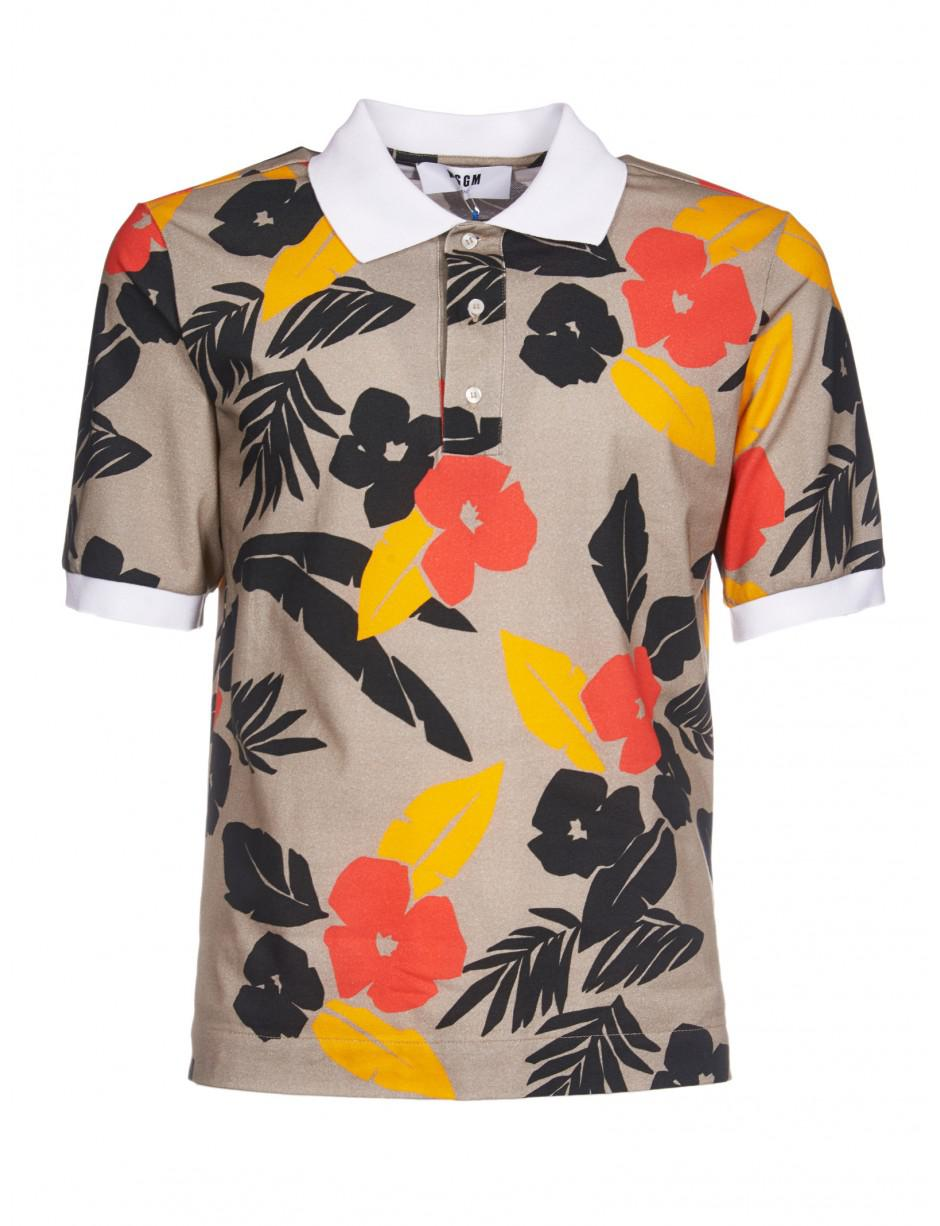 e25ca9147 MSGM Tropical Print Polo Shirt In Multicolor in Brown for Men - Lyst