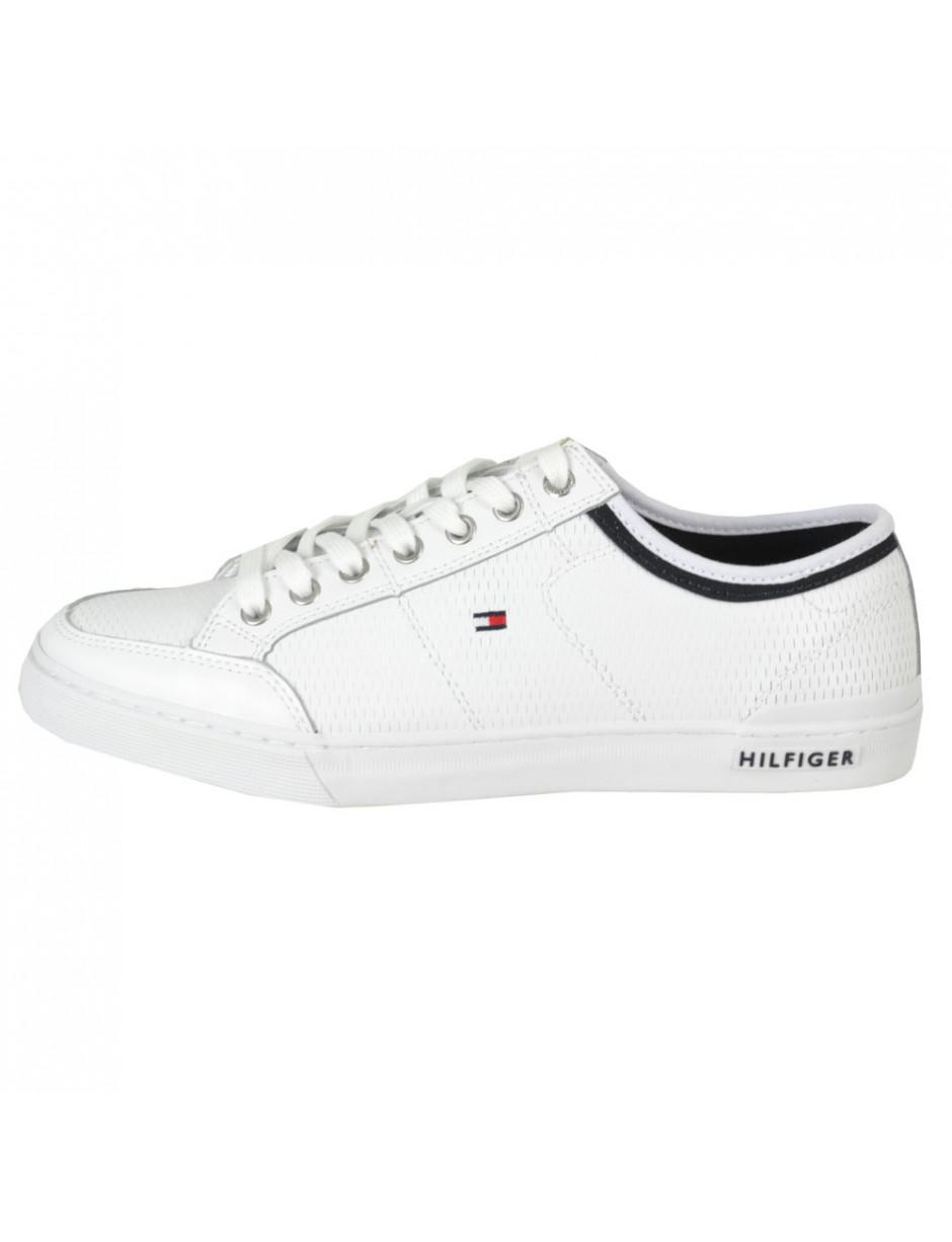 Tommy Hilfiger Core Corporate Leather Trainers in White sale comfortable I6EW5t0i