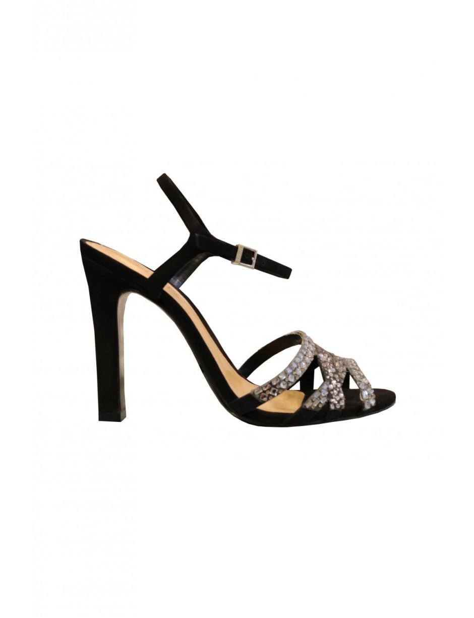 468039f31cbe6d Schutz Open Toe Sparkly Heeled Sandals S2-01850014 in Black - Lyst