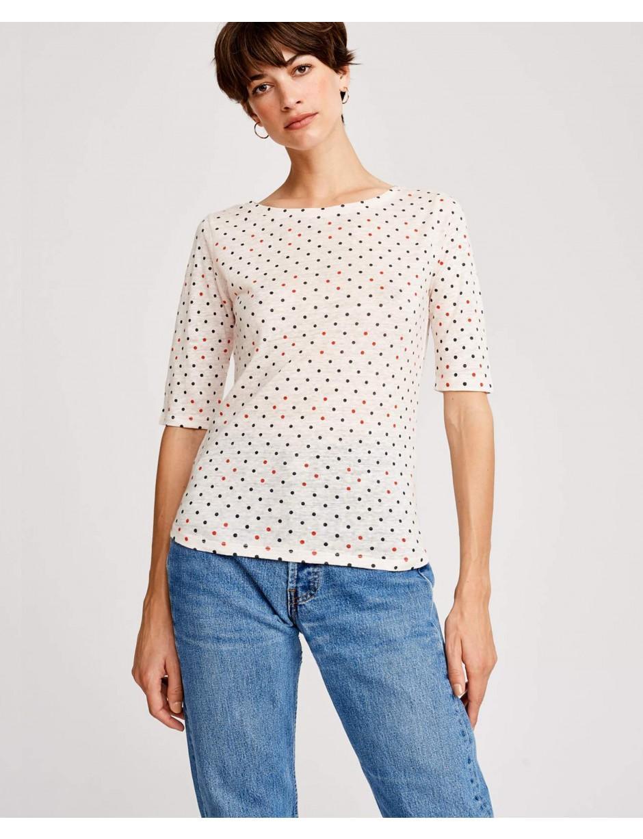 9aef37049edb Lyst - Bellerose Seas Polka Dot Linen T-shirt in White