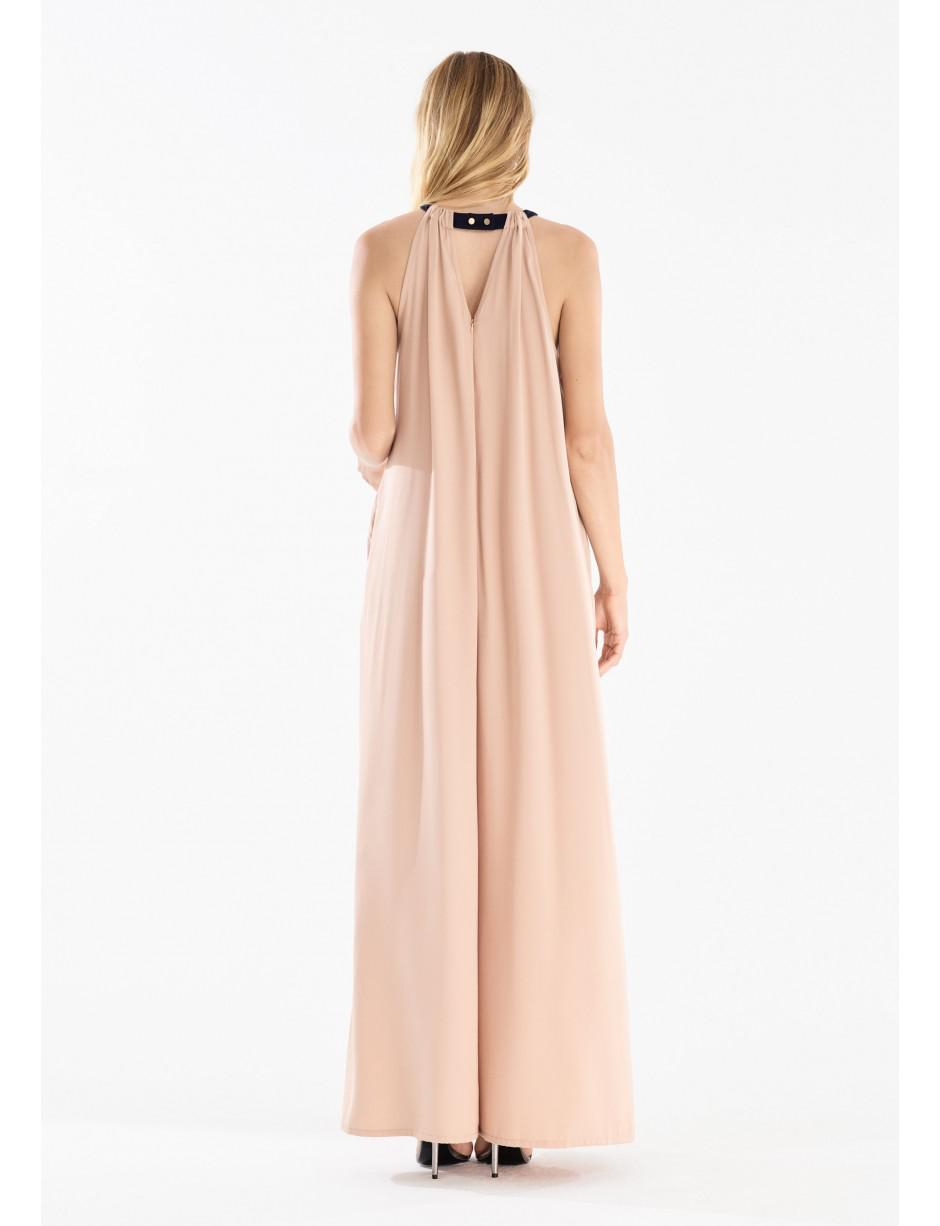 f1f66939e8 Lyst - Paisie Two Tone Halterneck Jumpsuit With Pastel Belt (with ...