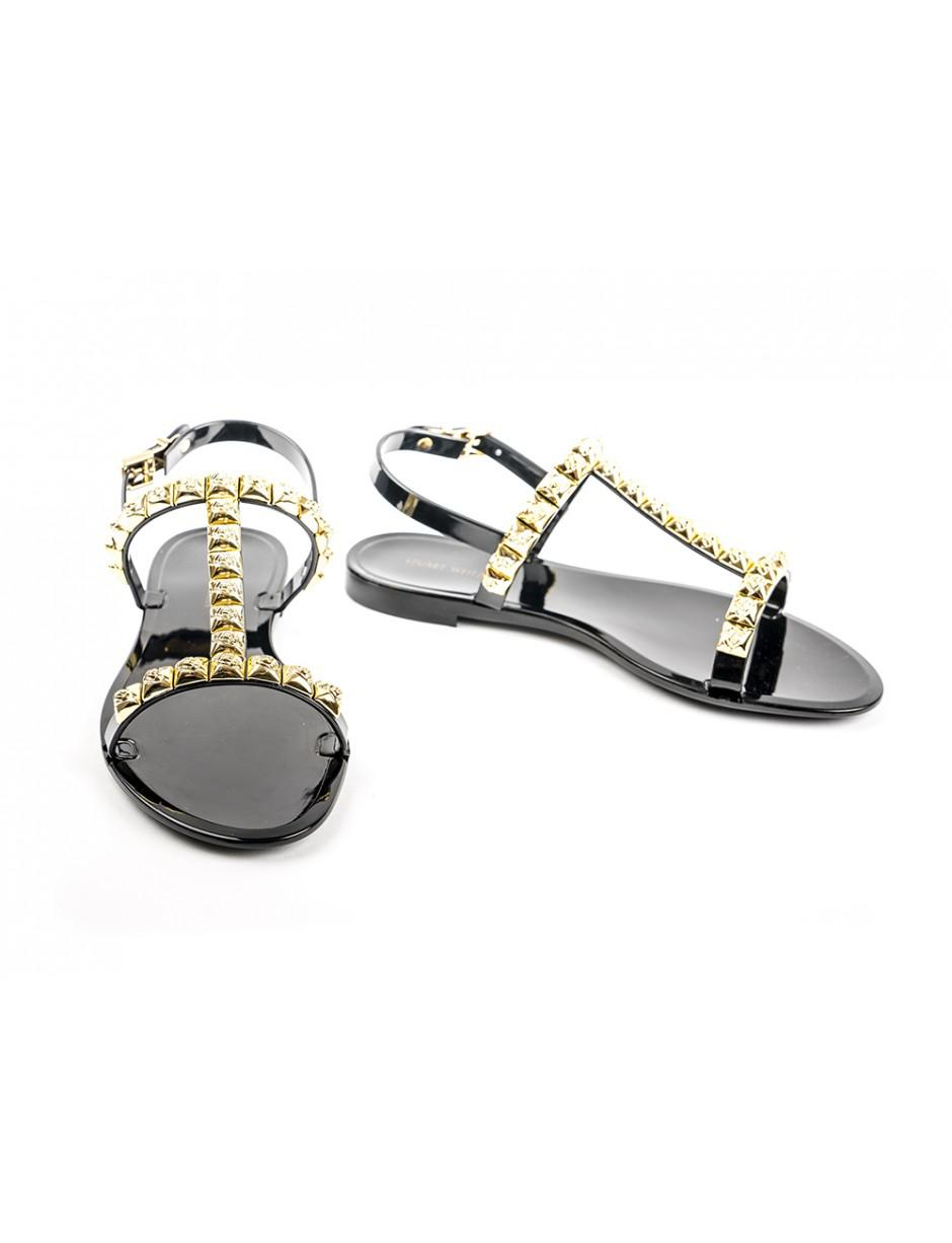 8ae32b1f3208 Lyst - Stuart Weitzman Jelrose Black And Gold Sandals in Black