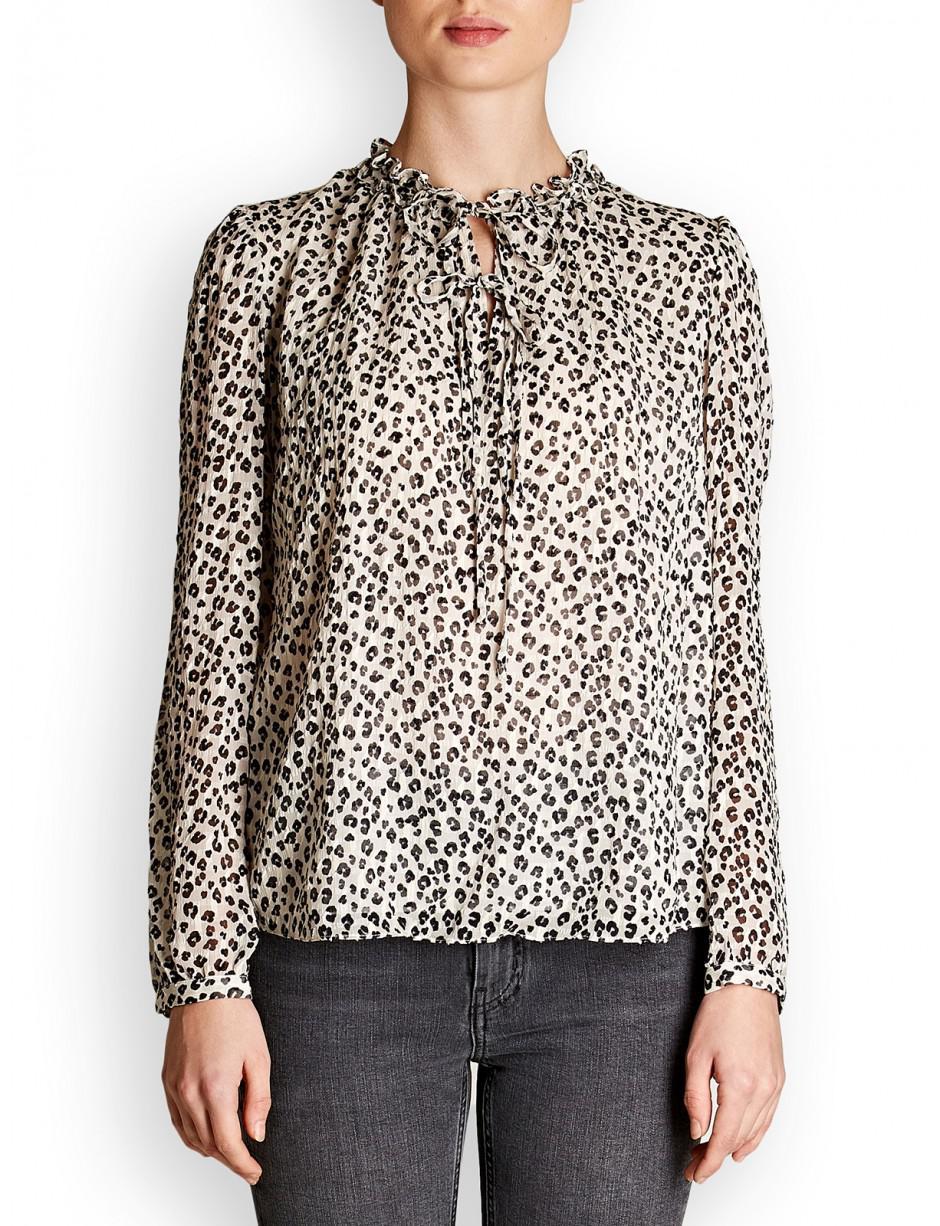 3fa7290d41e98 Lyst rebecca taylor silk chiffon cheetah print top in white jpg 940x1226 Cheetah  print top