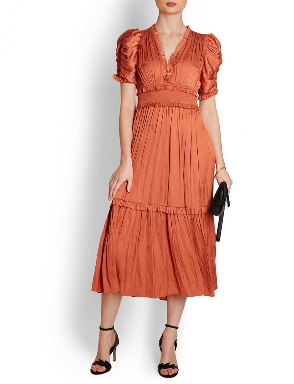 Ulla Orange Silky Lyst Midi In Johnson Maya Dress Frilled gwxqPzxd