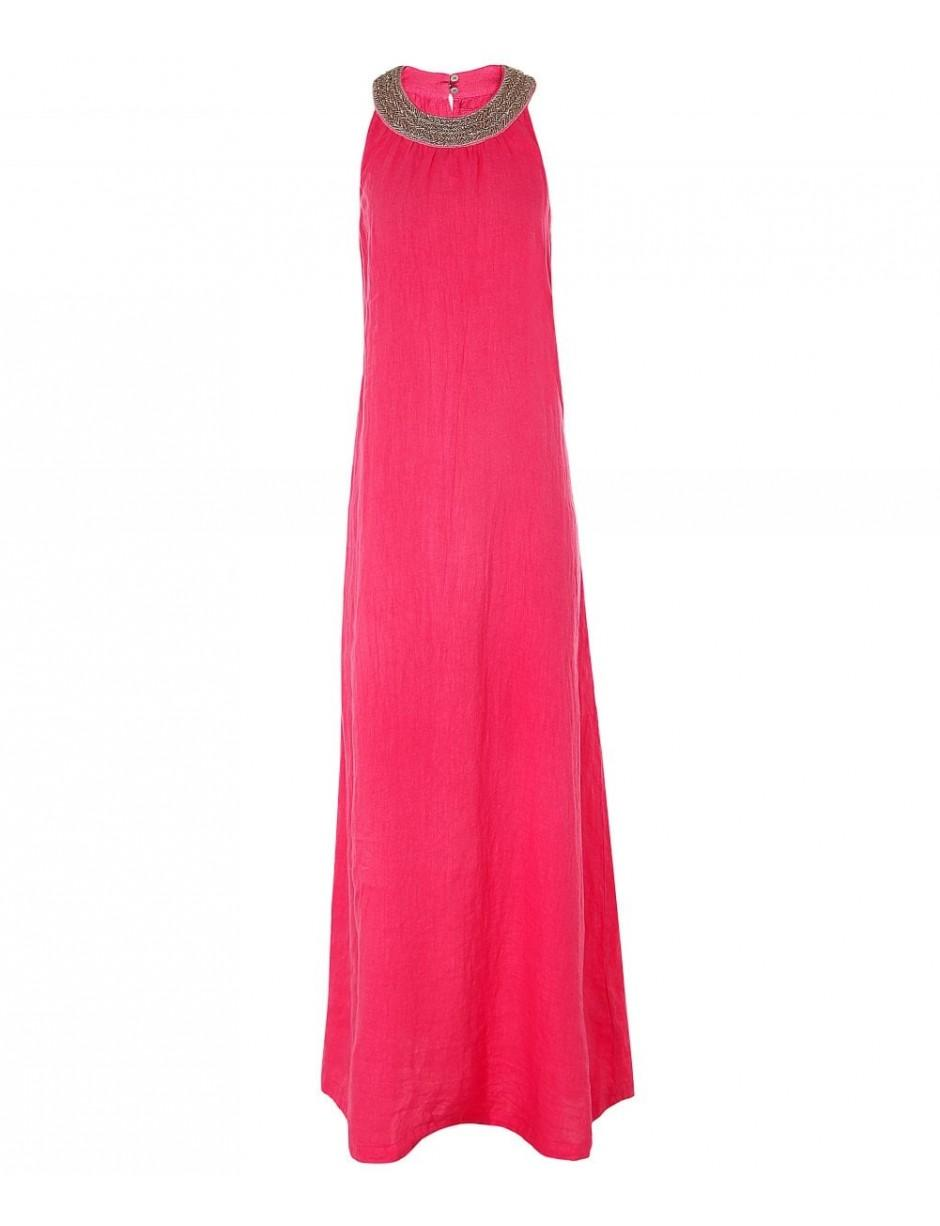 d818162234 120% Lino 120% Lino Linen Beaded Neckline Maxi Dress in Pink - Lyst