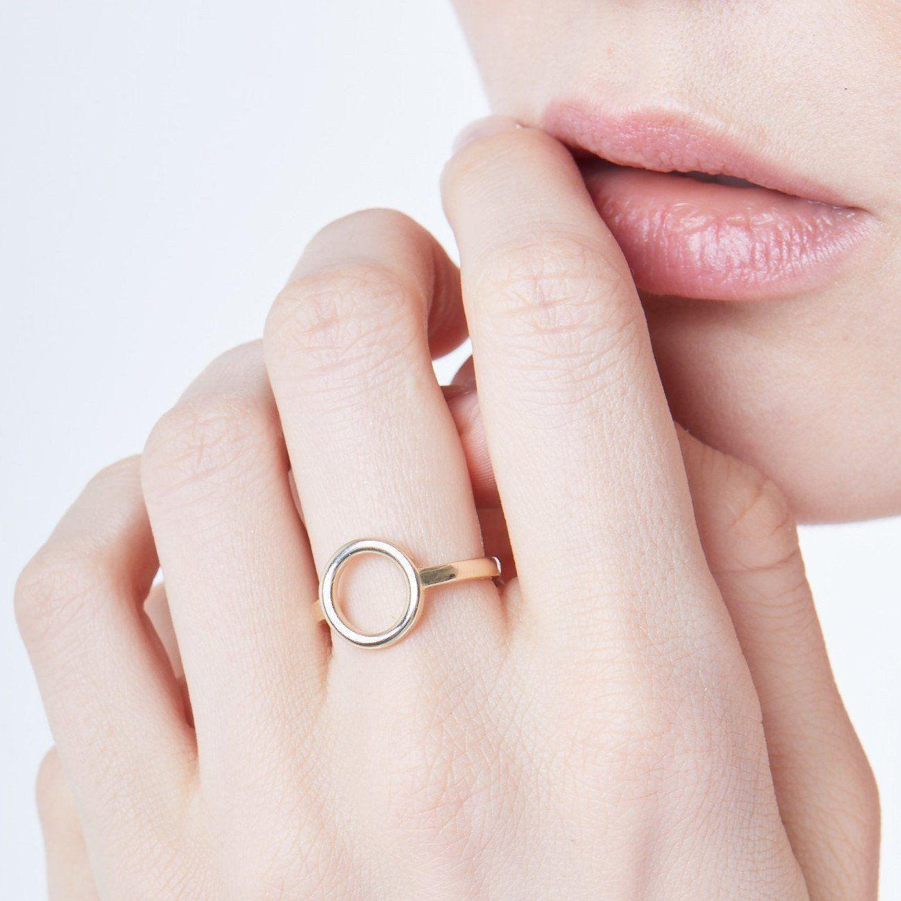 2e12beb61847d1 Lyst - Aurate New York Solid Circle Ring in Metallic