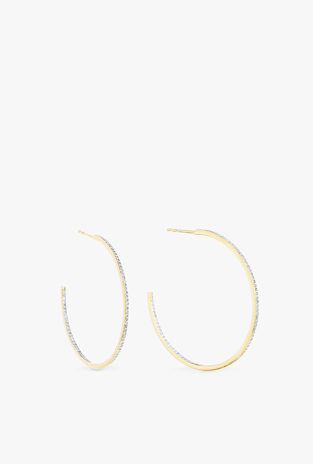 e76154132 Lyst - Adina Reyter Large Pavé Hoop Earrings in Metallic