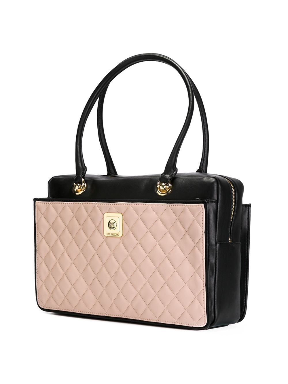 love moschino quilted shoulder bag in pink pink purple lyst. Black Bedroom Furniture Sets. Home Design Ideas