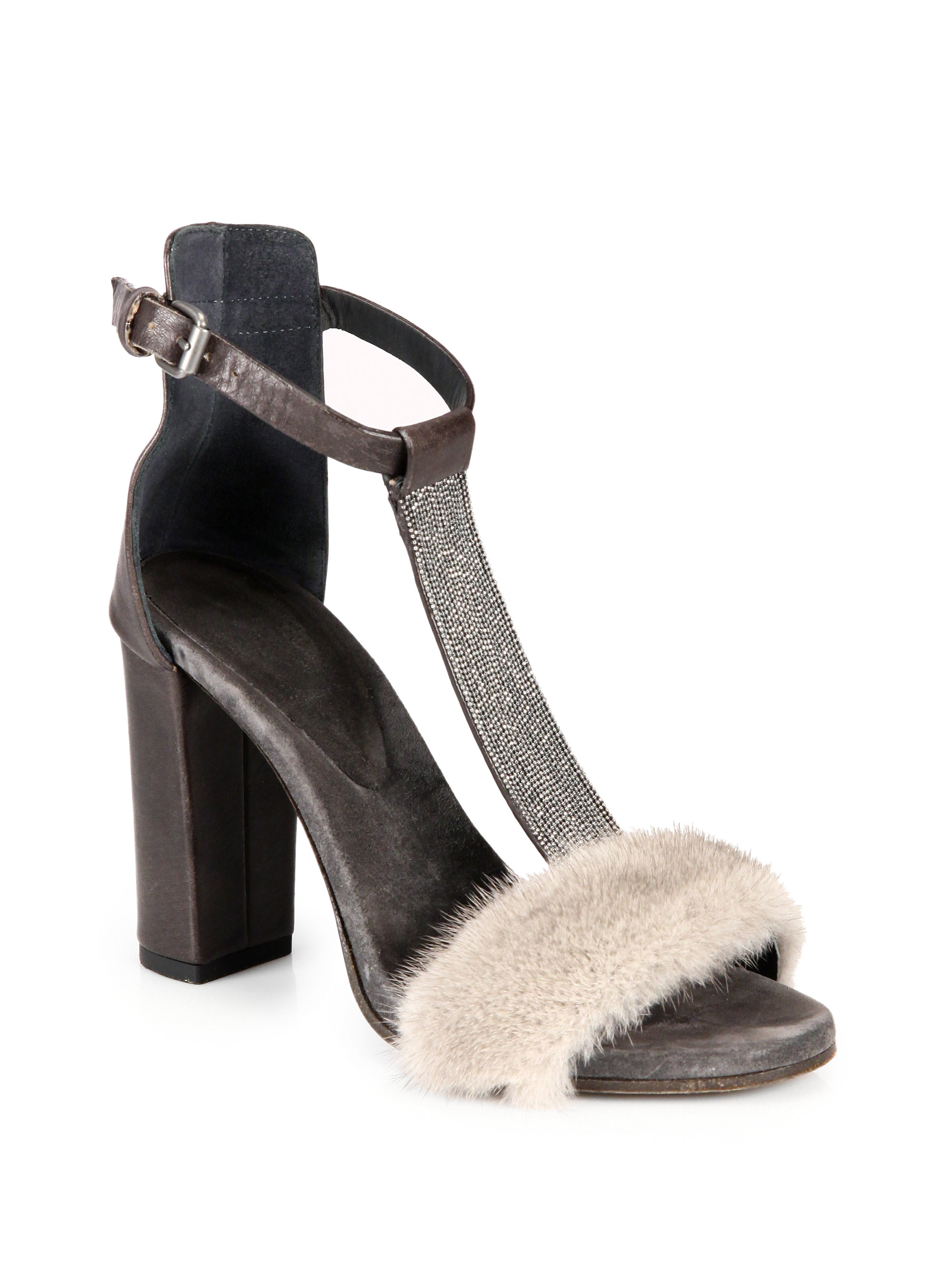 922254ed1d46 Lyst - Brunello Cucinelli Monili Mink Fur Beaded Leather Tstrap ...
