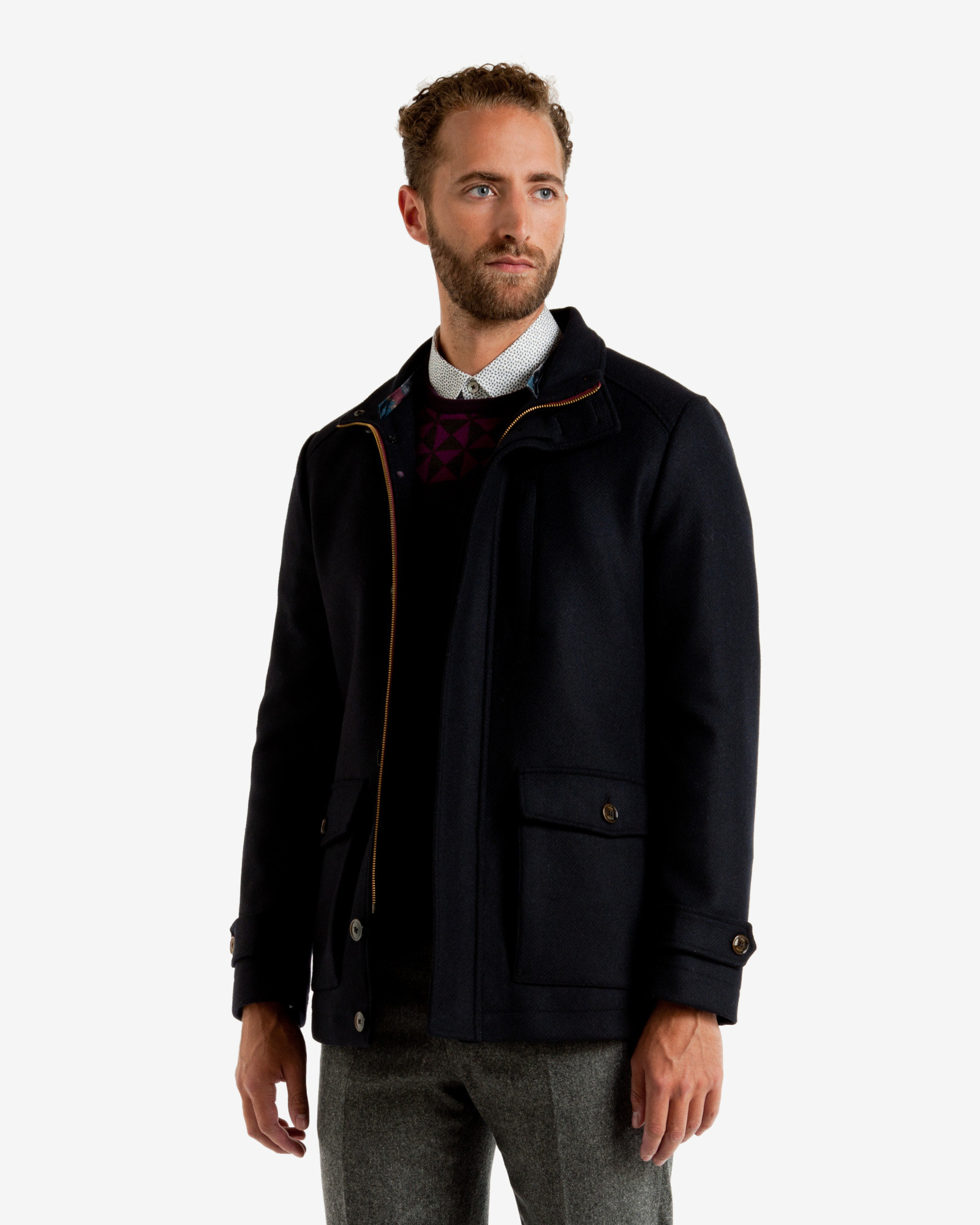 4065ba1887e38 Lyst - Ted Baker Wool 3 Pocket Coat in Blue for Men