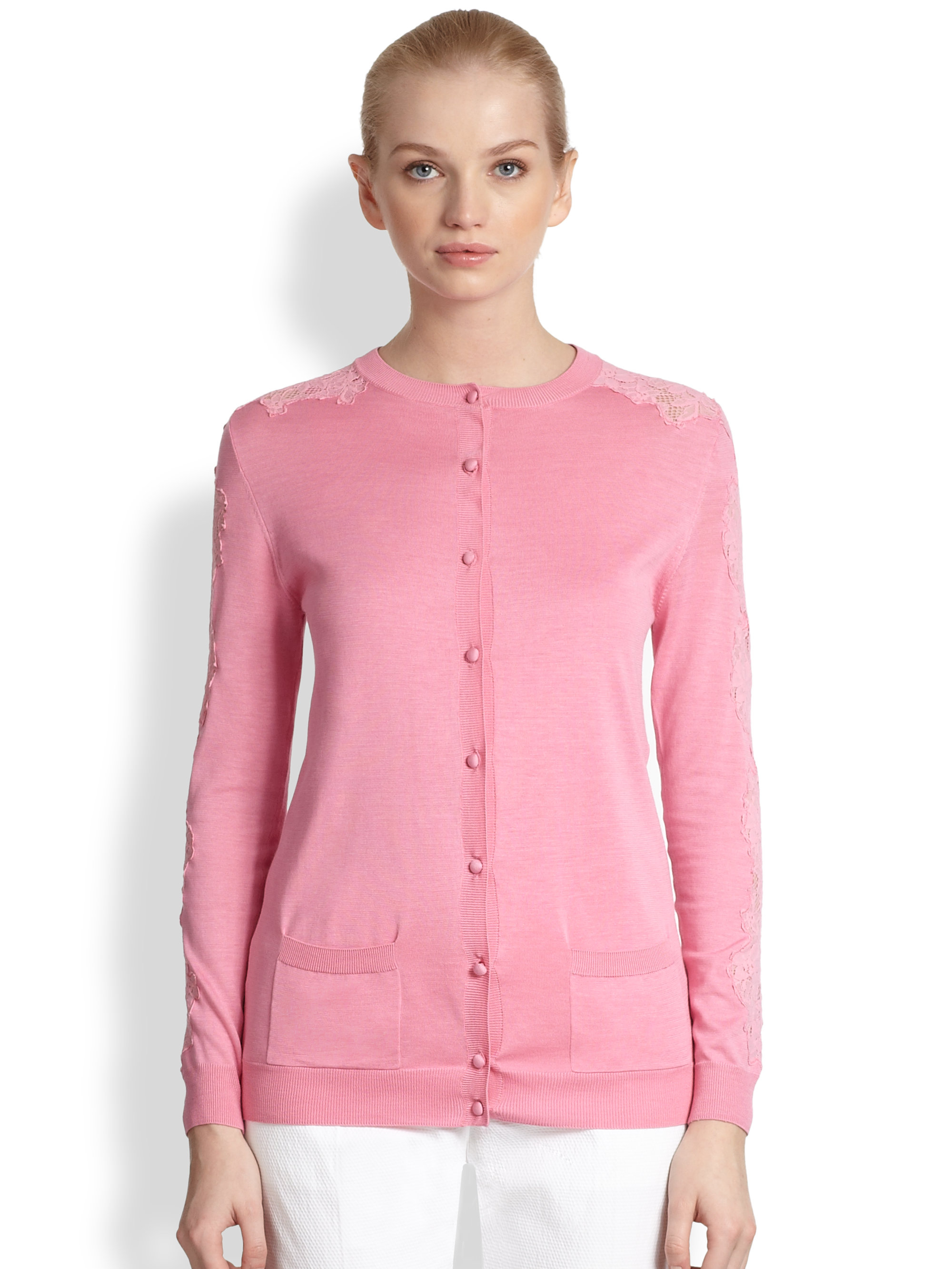 Nina ricci Silk Cotton Lace Insert Cardigan in Pink | Lyst