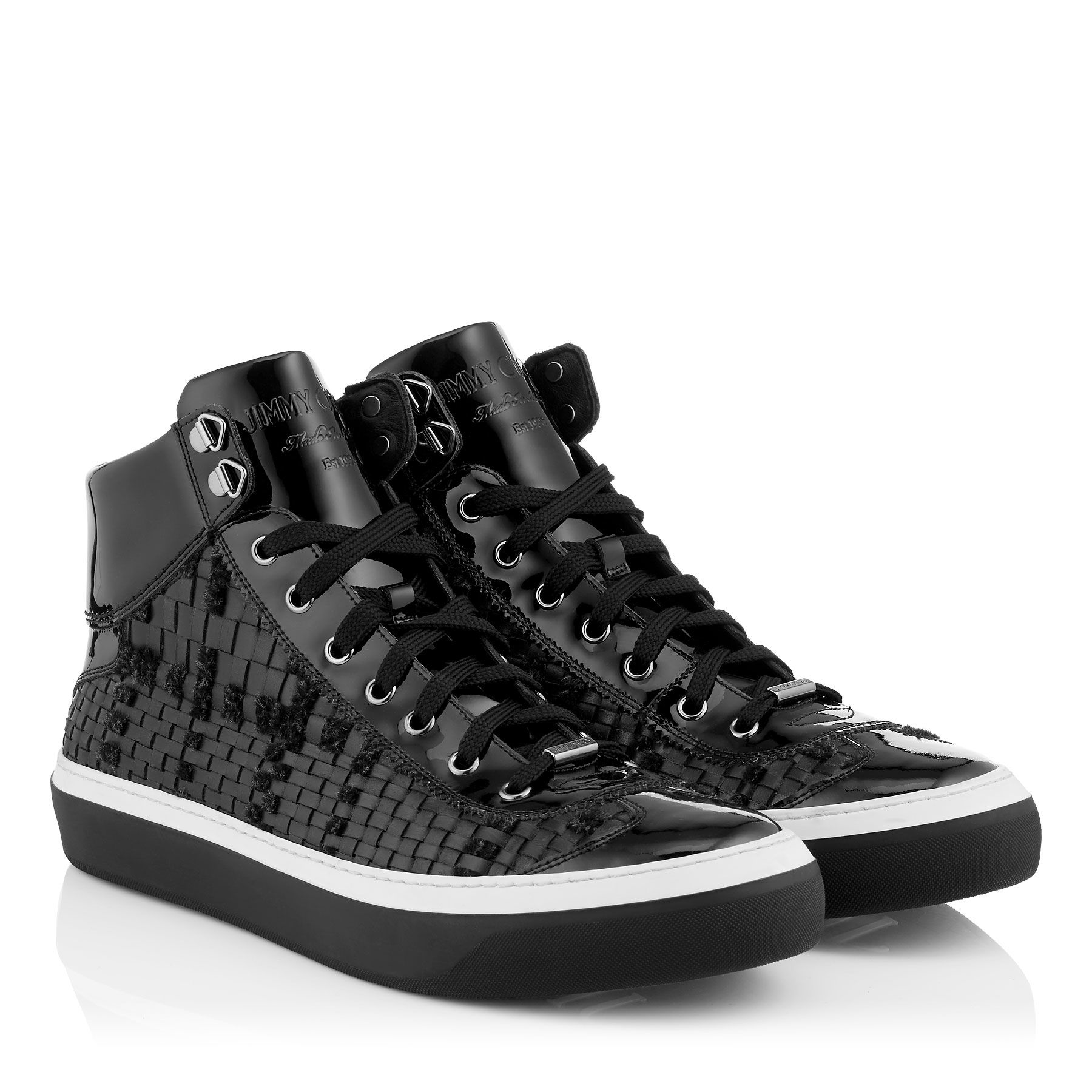 Lyst jimmy choo leather high top sneakers in black for men for Jimmy choo mens shirts