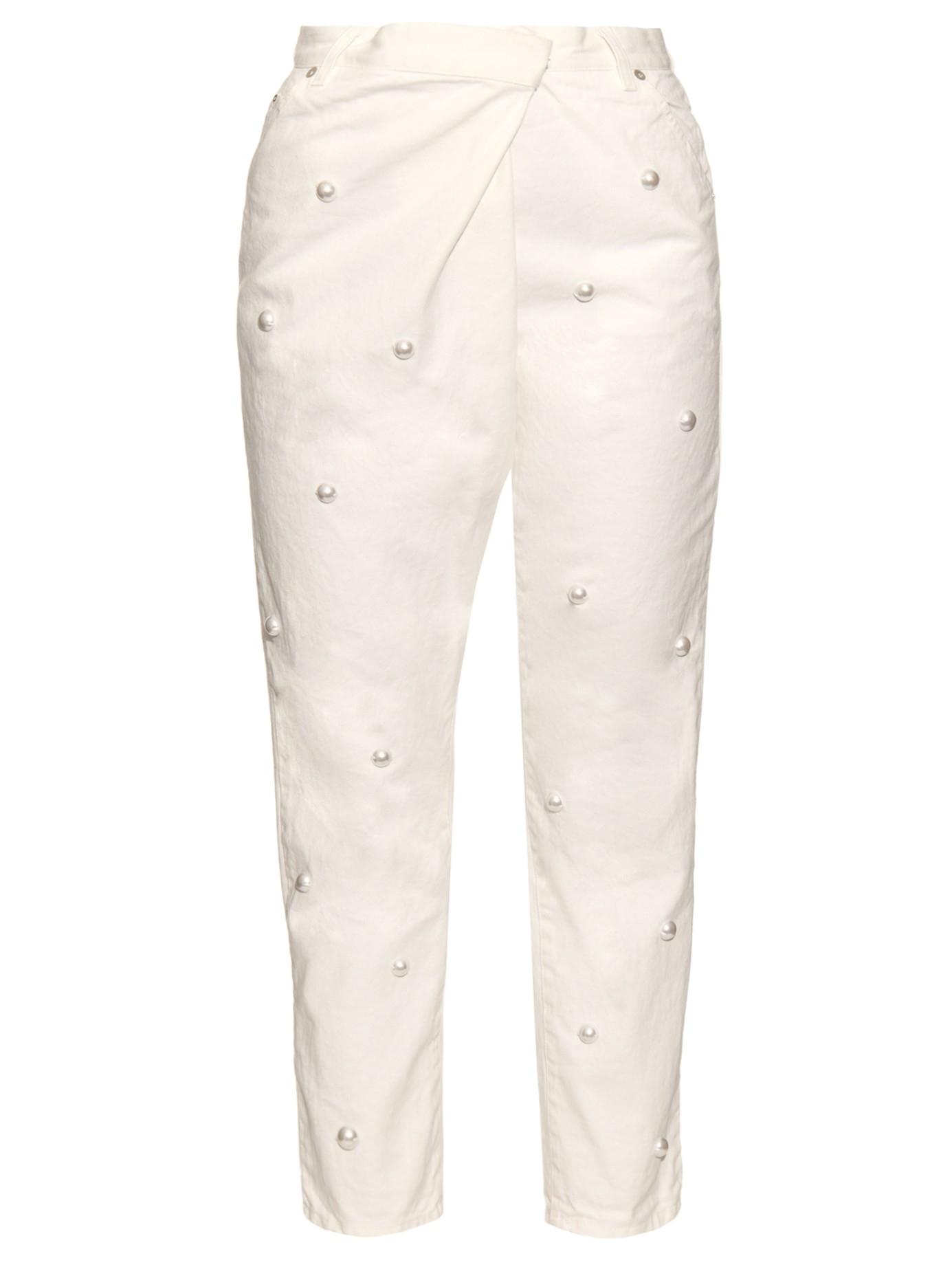 Lyst Muveil Faux Pearl Embellished Boyfriend Jeans In White