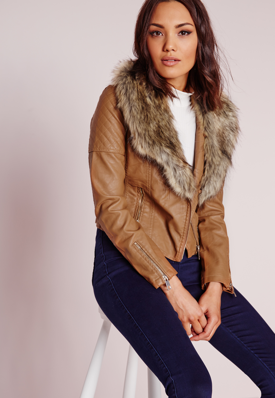 35f96d915d84 Lyst - Missguided Faux Leather Biker Jacket With Faux Fur Collar Tan ...