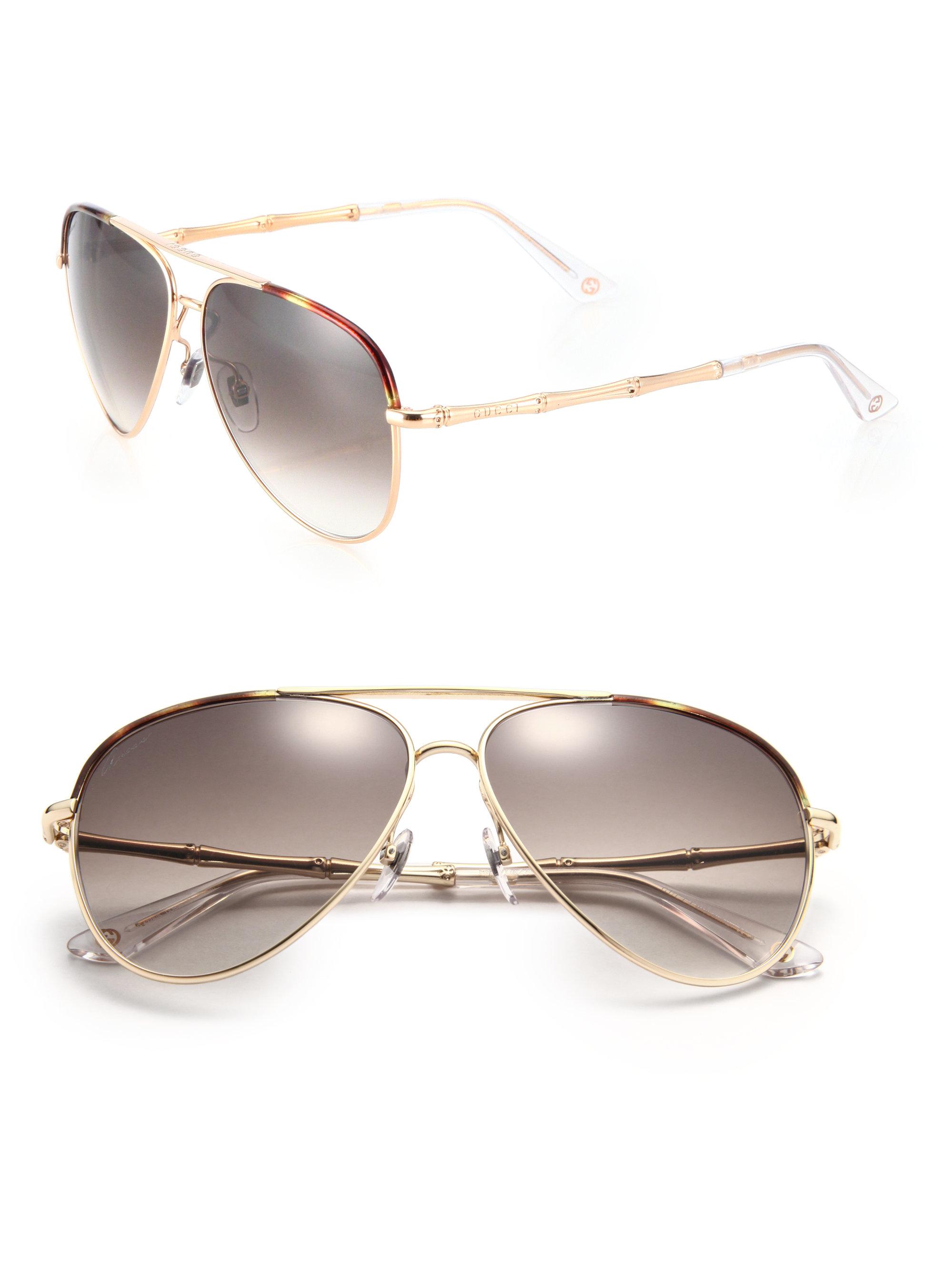 e5a231d330b Lyst - Gucci Bamboo 59mm Aviator Sunglasses in Brown for Men