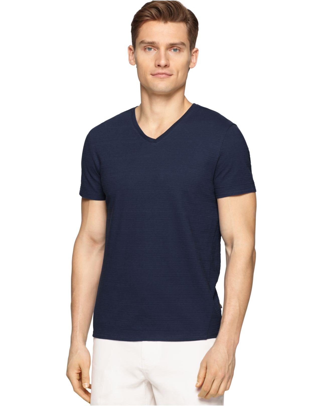 calvin klein v neck slim fit t shirt in blue for men lyst. Black Bedroom Furniture Sets. Home Design Ideas