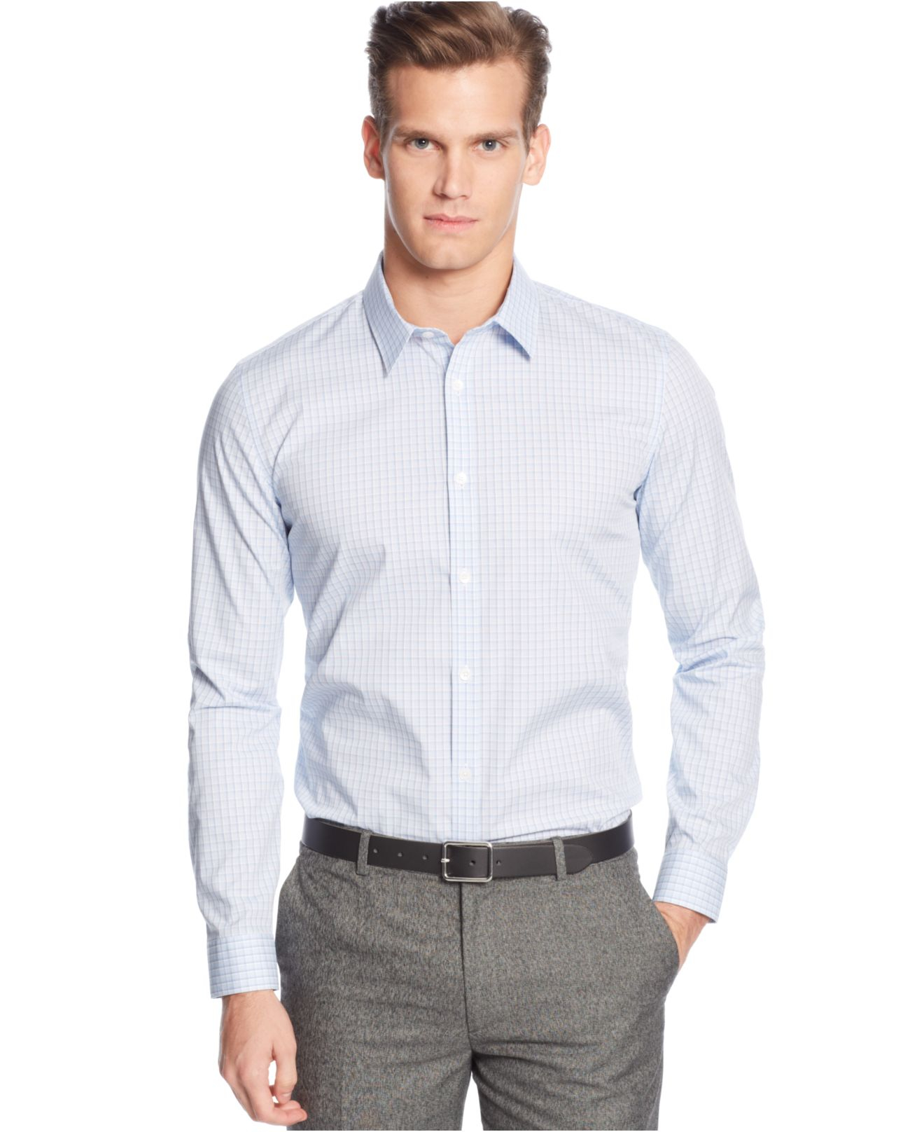 Calvin klein men 39 s infinite cool non iron slim fit shirt for Calvin klein athletic fit dress shirt