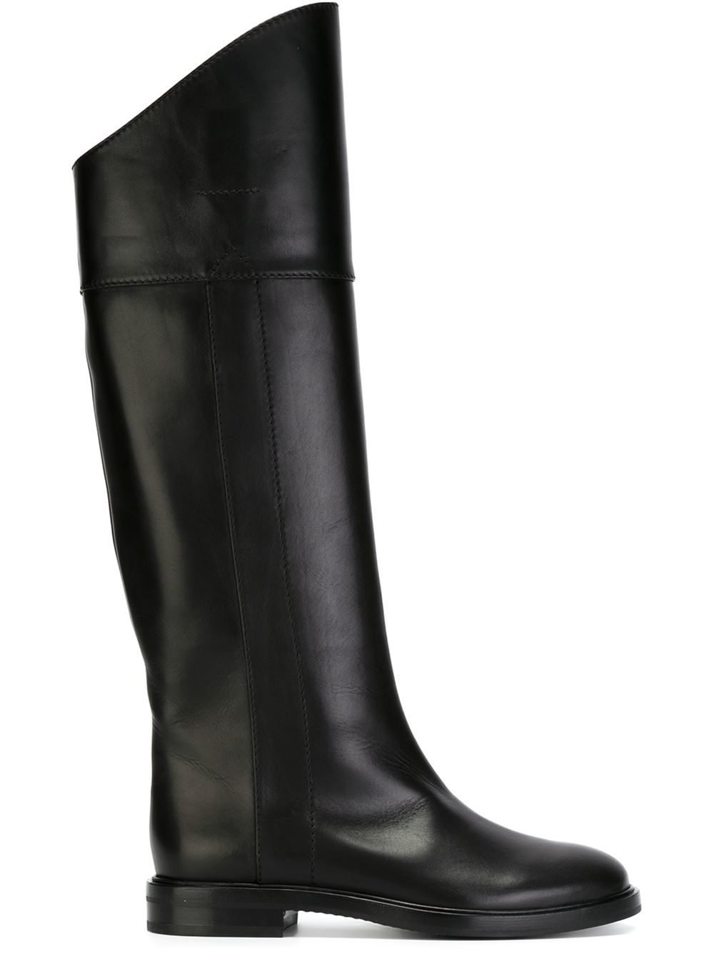 casadei knee length leather boots in black lyst