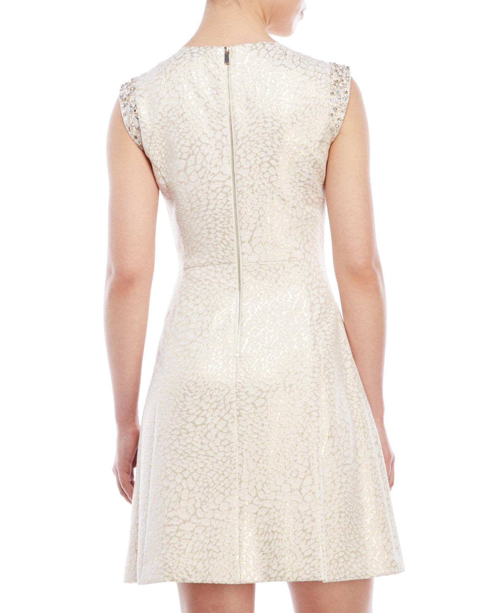Lyst Vince Camuto Metallic Jacquard Cap Sleeve Dress In