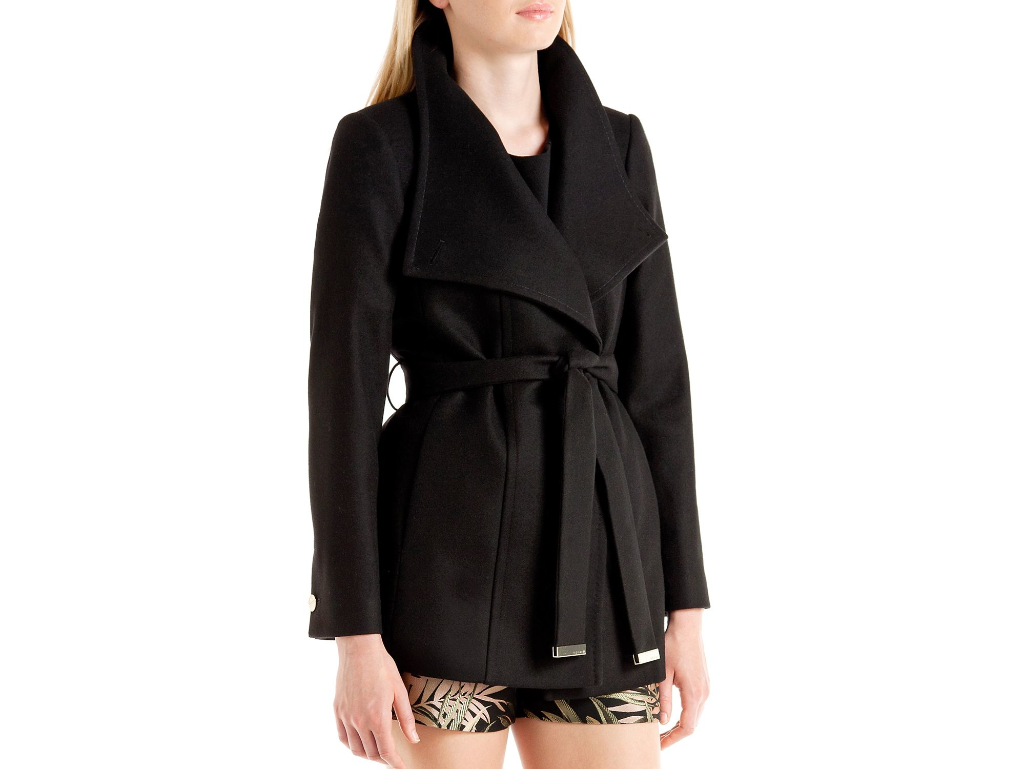 Ted baker Paria Short Wrap Coat in Black | Lyst