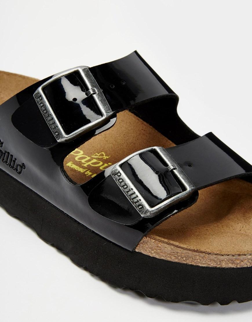 6a82ab1ddb0 Lyst - Birkenstock Arizona Platform Patent Black Slider Flat Sandals ...