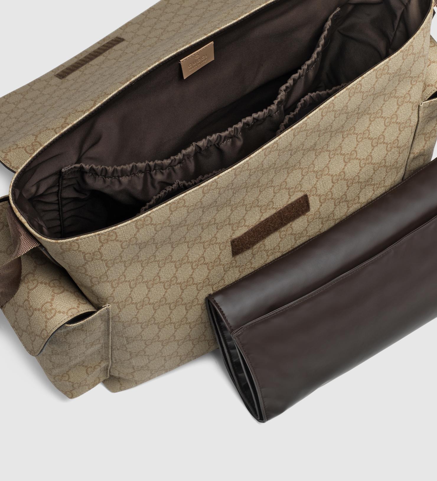 e34153ba2a0a34 Lyst - Gucci Gg Supreme Canvas Messenger Diaper Bag in Brown