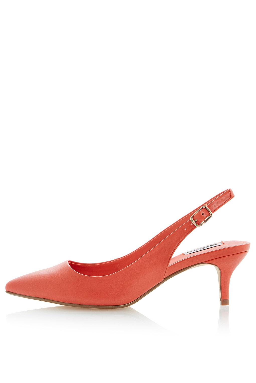 89e9e8eef2f TOPSHOP Cathryn Kitten Heel Slingback Court Shoes By Dune in Orange ...