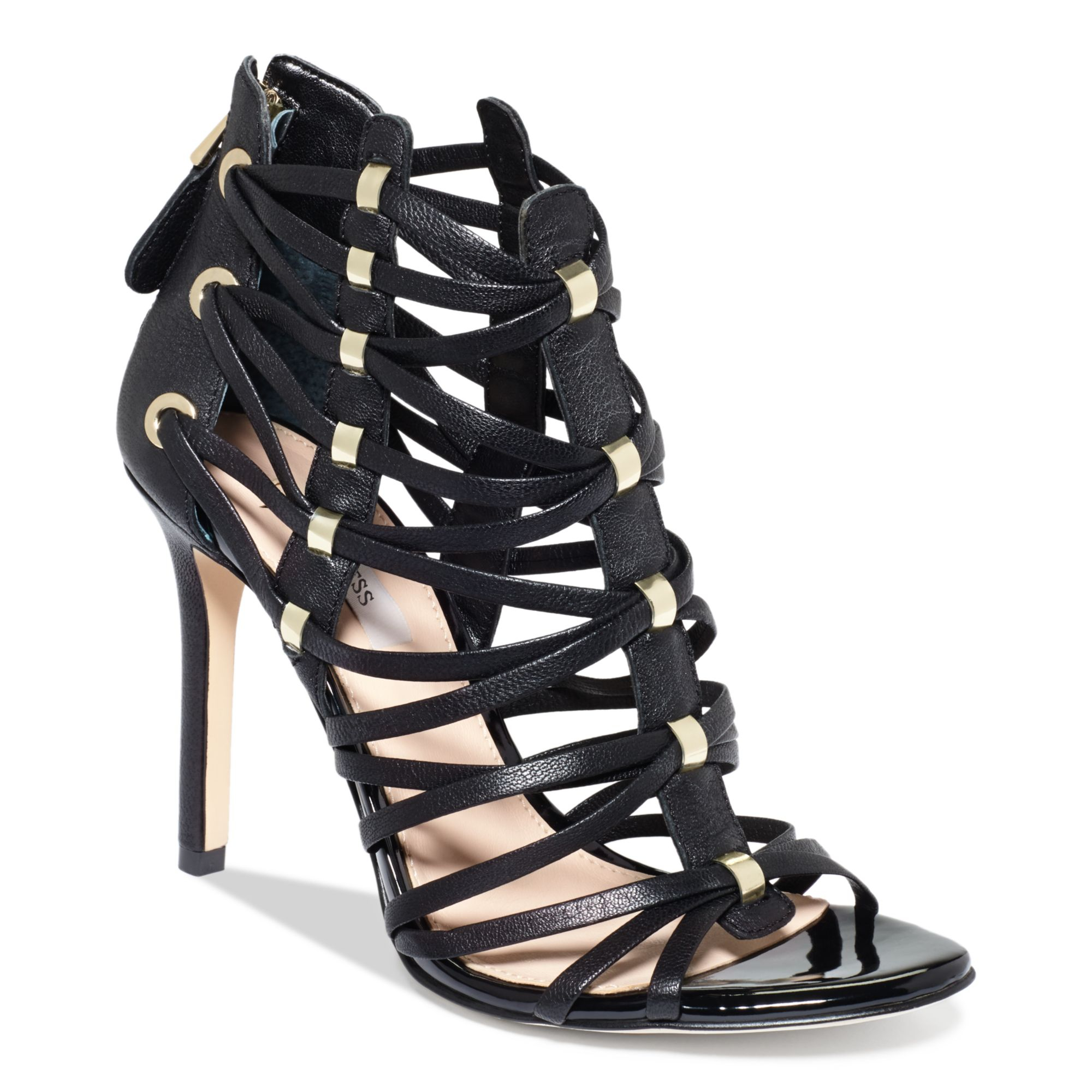 Guess Women S Leday2 Caged Dress Sandals In Black Lyst