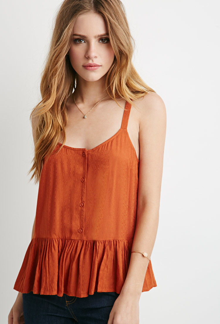 Forever 21 Buttoned Babydoll Cami in Orange (RUST) | Lyst