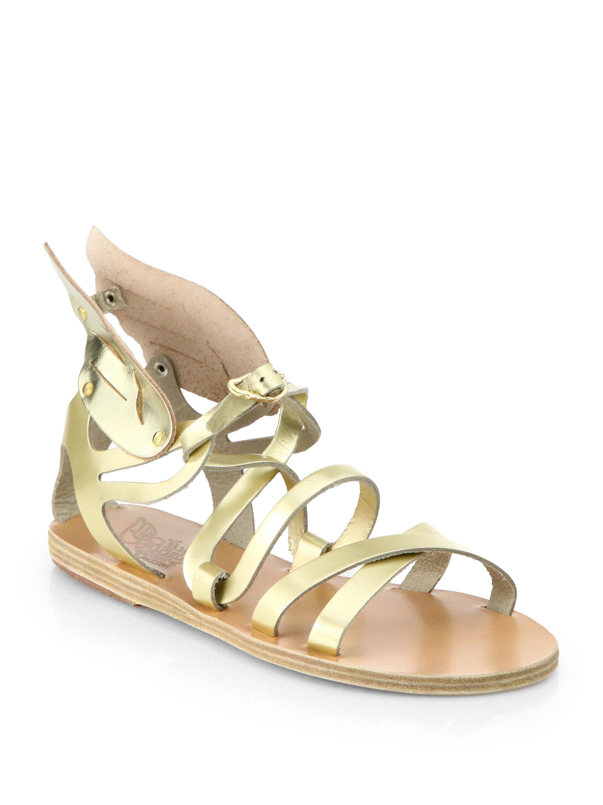 Ancient Greek Sandals Nephele Angel Metallic Leather Wing Gladiator Sandals In