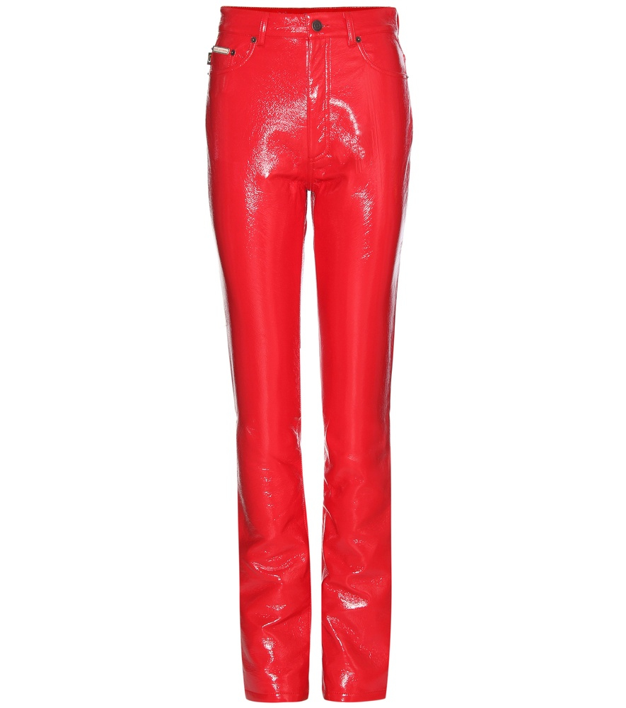 Marc Jacobs Faux Patent Leather Trousers In Red Lyst