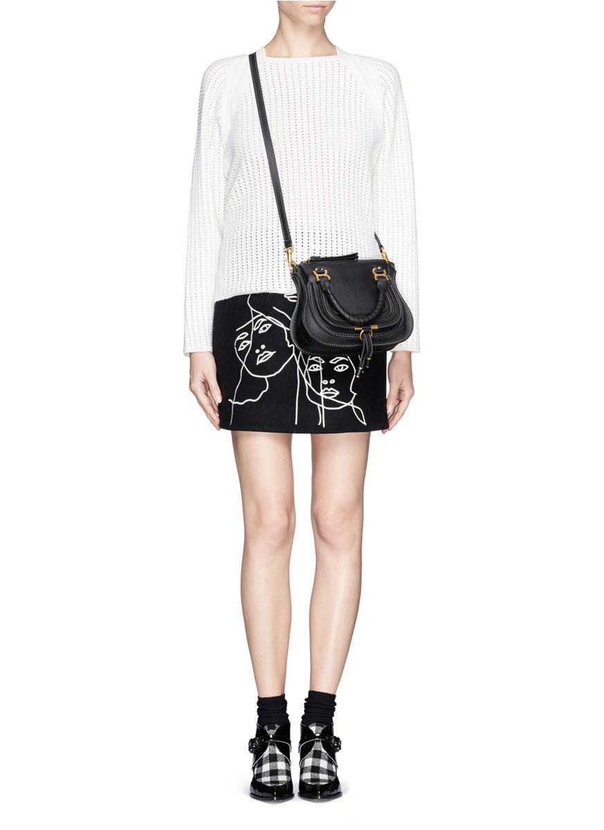 Chlo¨¦ \u0026#39;baby Marcie\u0026#39; Mini Leather Bag in Black | Lyst