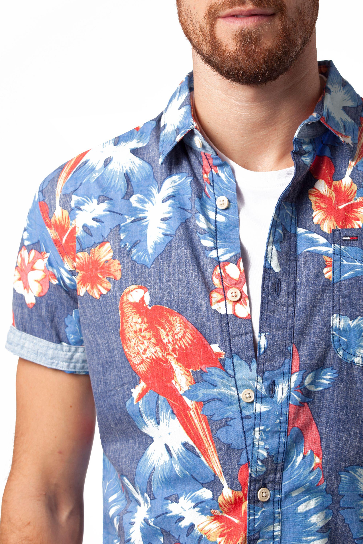 70c9b40c Tommy Hilfiger Newton Pattern Slim Fit Short Sleeve Shirt in Blue ...