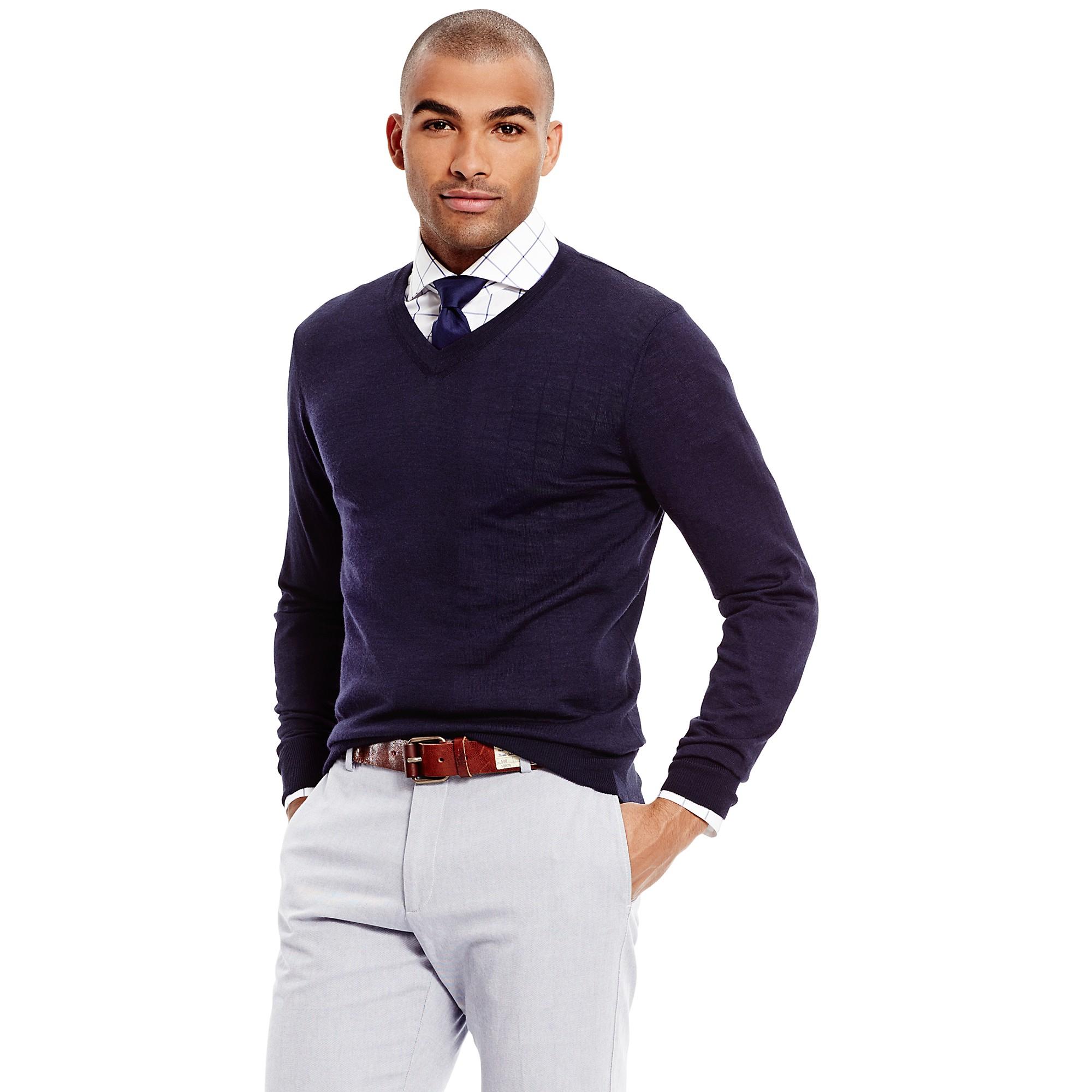 tommy hilfiger wool v neck sweater in blue for men navy. Black Bedroom Furniture Sets. Home Design Ideas