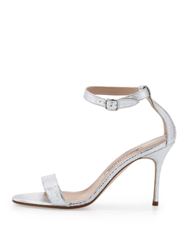 lyst manolo blahnik chaos metallic anklewrap sandal silver in metallic rh lyst com