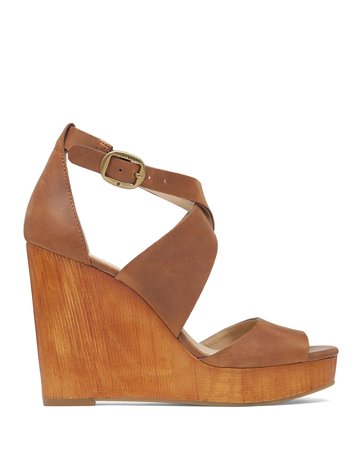 bf92fdd7f Lucky Brand Wedge Sandals - Lyndell in Brown - Lyst