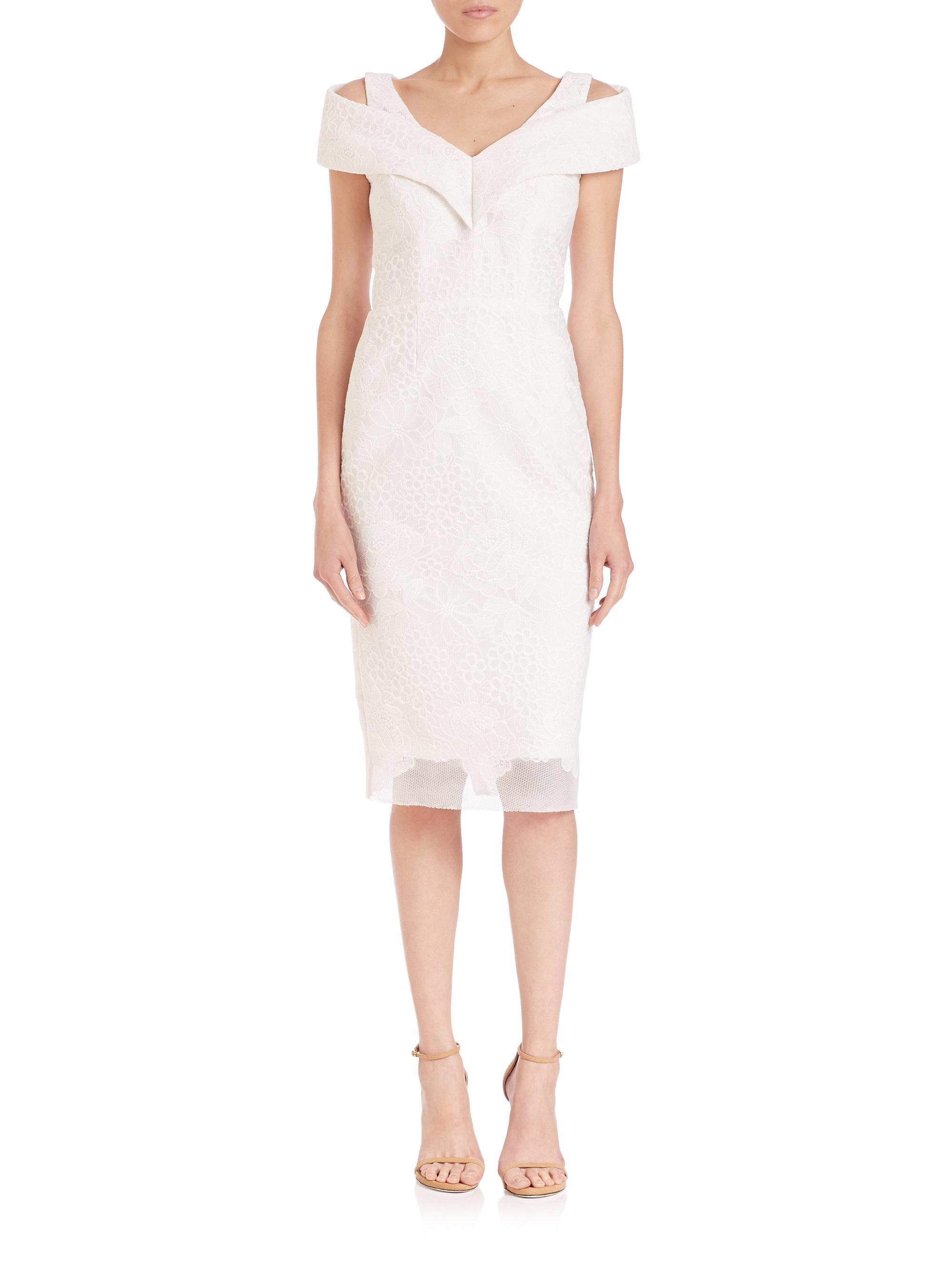 f08e87ac9a6 Lyst - Badgley Mischka Cold-shoulder Lace Sheath Dress in White