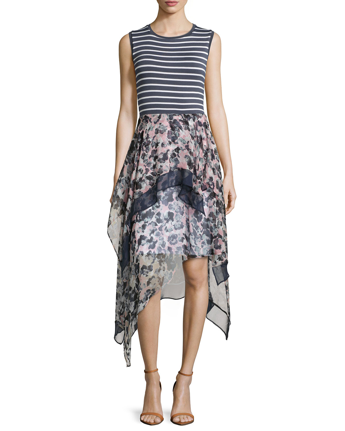 Lyst Bailey 44 Striped Floral Print Combo Dress In Black