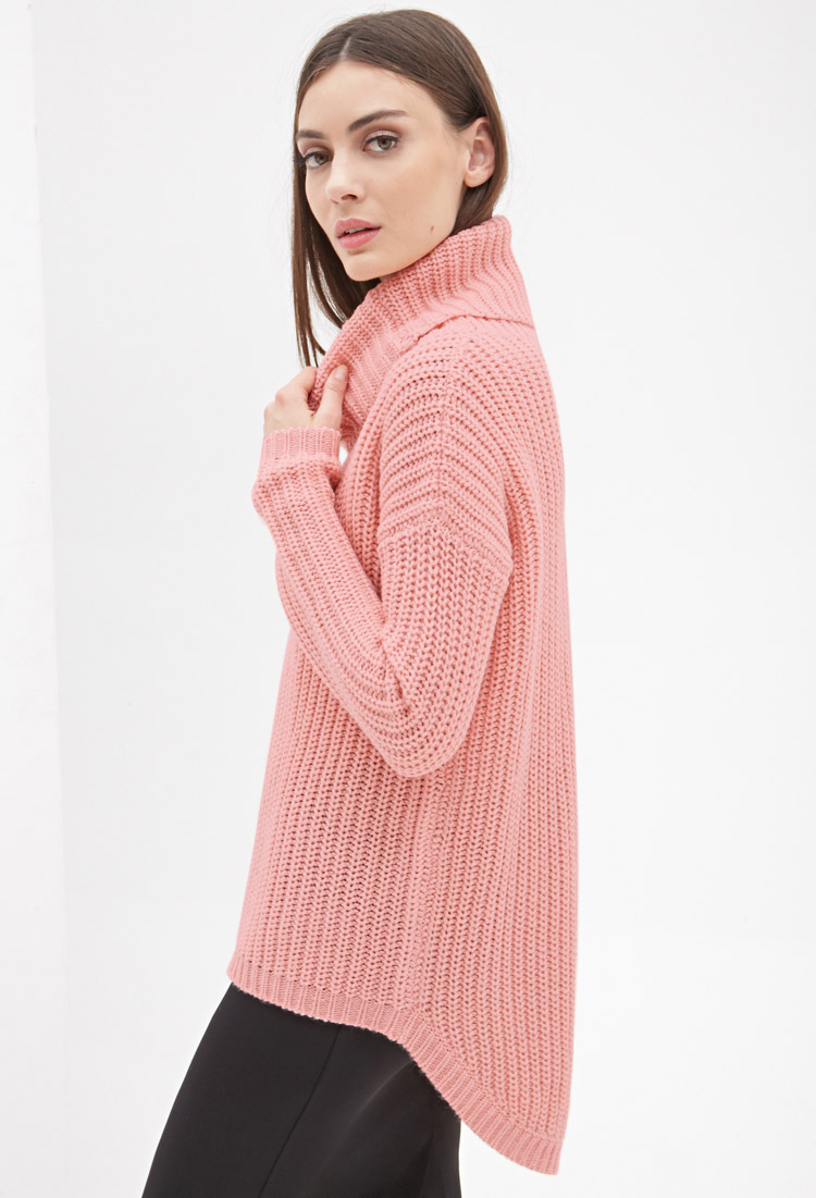 Forever 21 Oversized Turtleneck Sweater in Pink | Lyst