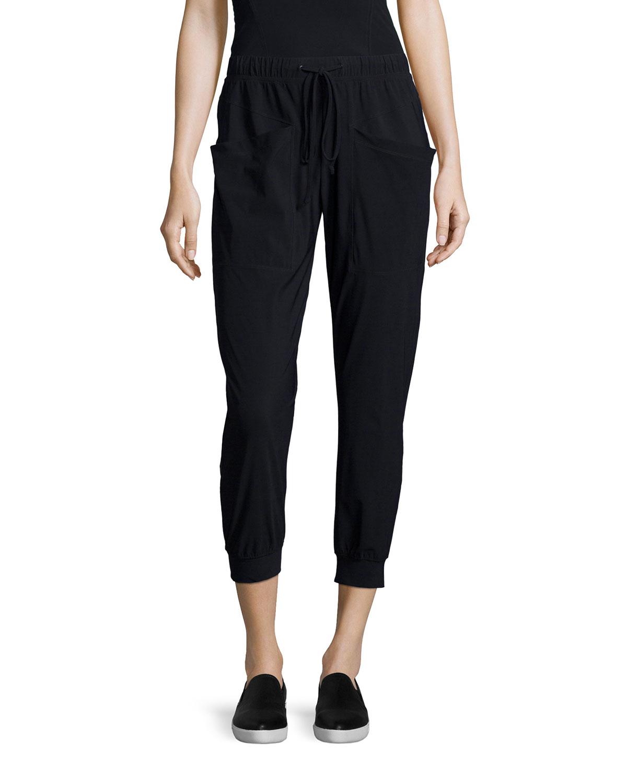 j brand pescadero cropped pants in black lyst. Black Bedroom Furniture Sets. Home Design Ideas