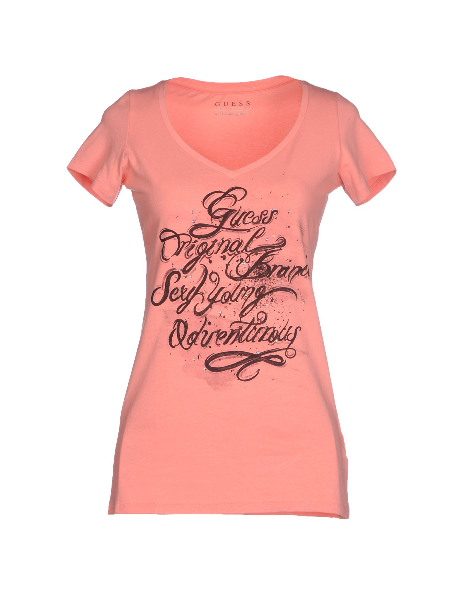 guess t shirt in pink salmon pink lyst. Black Bedroom Furniture Sets. Home Design Ideas