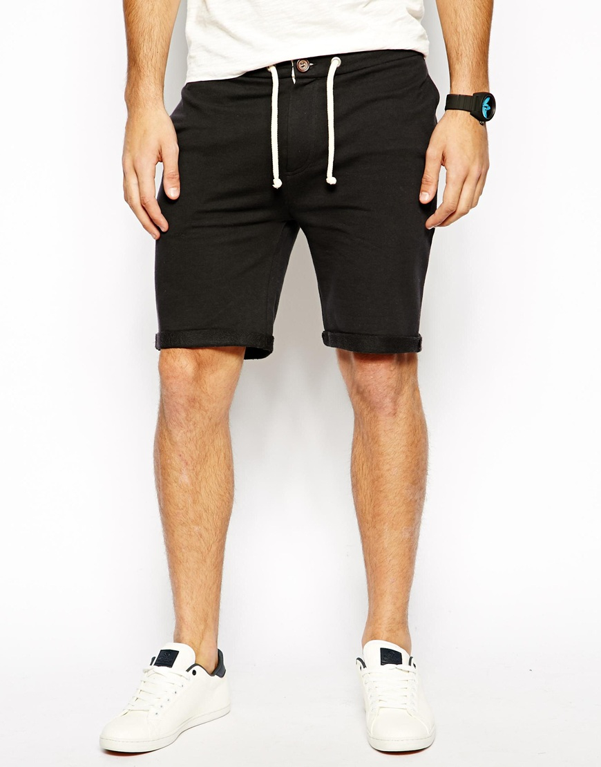 Asos Jersey Shorts With Zip Fly And Button Detail in Black for Men ...