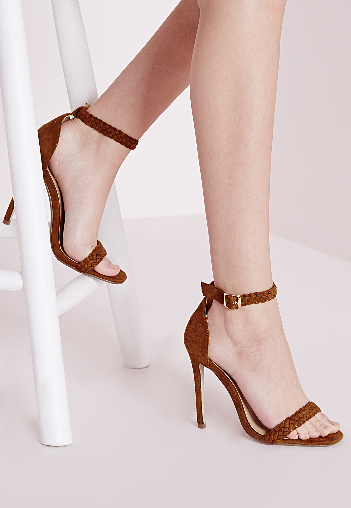 c583c5202a8 Lyst - Missguided Plaited Strap Barely There Heeled Sandals Tan in Brown